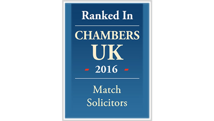 Chambers & Partners – Band 2 recognition for Match Solicitors